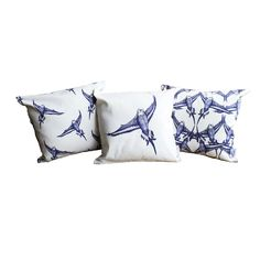 Country Bird Cushions . . . Budgie in flight patterned cushion cover - #Handmade in the UK by Jenny in Wootton, #Bedfordshire. Rustic #country style that'll suit traditional style interiors. Made with #blue and white 100% high quality #cotton. Measures 48cm x 48cm (fits 50cm x 50cm cushion filler). Buy on #Etsy