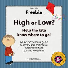 Working on High and Low with your elementary music students? They will love this interactive game which will reinforce the concept and you will love that it is free! Excellent center or whole group instruction.