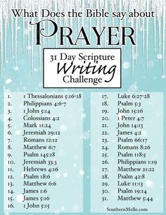 31 Day Scripture Writing Plan - PRAYER - Southern Melle