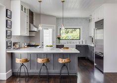 Transitional gray & white kitchen