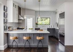 Transitional gray & white kitchen