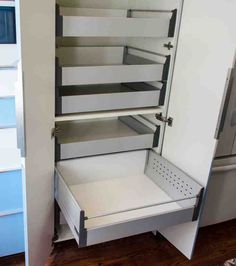 Box One of the more popular features of IKEA cabinets is the pull-out shelves. Unfortunately, they don't make the pull-out shelves for their wide cabinets. However, since all the hardware for IKEA cabinets is made by Blum, we decided Pantry Furniture, Ikea Hack Kitchen, Ikea Shelves, Shelves, Pantry Cabinet Ikea, Ikea, Kitchen Cabinets Decor, Ikea Cabinets, Kitchen Pantry Furniture