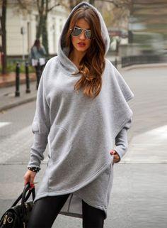 Fashion Long Sleeve Solid Irregular Hoodie