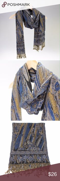 """Blue & Gold Handmade Silk Scarf This beautiful handmade scarf is decorated with many intricate designs. It is 12"""" wide and 76"""" long (not including the tassels) which gives you plenty of length to wrap or tie however you'd like. The fabric is 50% Silk, 50% Viscose. Handmade in Nepal. Fair Trade. (#BBB42) Accessories Scarves & Wraps"""