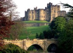 Alnwick Castle, Northumberland, England. The location for some of  Hogwart's outdoor scenes in Harry Potter movies.