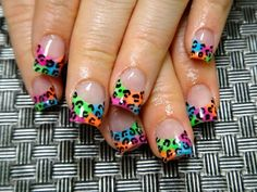 Neon Animal Print Nails. Nail Art. Cheetah. Orange. Pink. Green. Blue. Black. Fashion. French Tip.