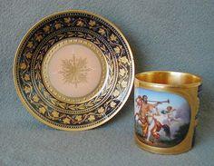 The Best Antique Hand Painted Vienna Cup Saucer of Centaurus, Woman & Cherub