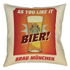 Bier Brau Munchen Printed Throw Pillow