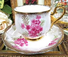 ROYAL ALBERT TEA CUP AND SAUCER PRETTY PINK FLOWERS TEACUP GOLD GILT in Antiques, Decorative Arts, Ceramics & Porcelain | eBay