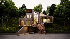 single family house by leqso tsiskarishvili, via Behance