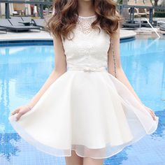 Korean Style Embroidery Lace Chiffon Short Sleeve Dress