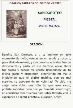 San Doroteo, para dolores de vientre.