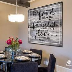 """Large Dining Room Wall Decor Unique Canvas Wall Art """"bless the Food Family Love Amen"""" Quote Gearden Dining Room Wall Decor, Kitchen Wall Art, Kitchen Decor, Room Decor, Kitchen Wall Pictures, Family Wall Decor, Tv Wall Decor, Wall Décor, Framed Wall"""