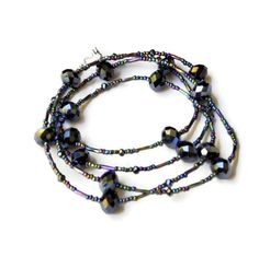 Extra Long Sparkling Peacock Black Necklace  Multi by ALFAdesigns, $44.99