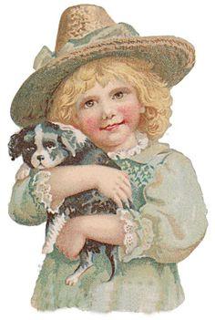 Bild einbinden:-Bild einbinden:--Jungs und Mädchen mit Hund und Katz-Boys and girls with dog and cat Victorian die cut-Victorian scrap