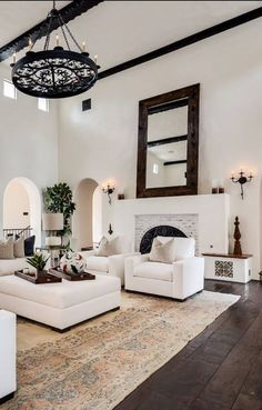 Contemporary modern style living room in white with black and beige details