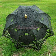 Bridal Sun Parasol Wedding Shower Decor Battenburg Black Cotton Lace Umbrella #ParasolUmbrella