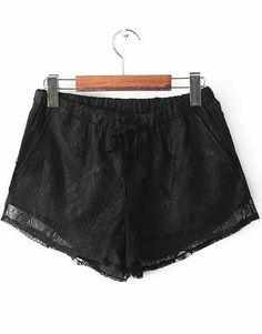 Black Elastic Waist Lace Straight Shorts US$21.10