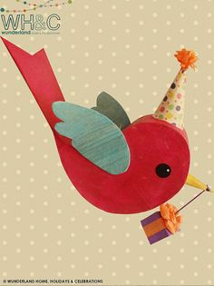Birthday Party Messenger Bird Pinata or by wunderlandhome on Etsy, $60.00