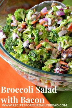 Broccoli Salad with I love this combination of  Broccoli, Craisins, shredded carrots, crunchy crumbled bacon, chopped red onion, and sunflower seeds .http://recipesforourdailybread.com/2013/09/05/best-broccoli-with-bacon-recipe/ #salad #broccoli #Easter