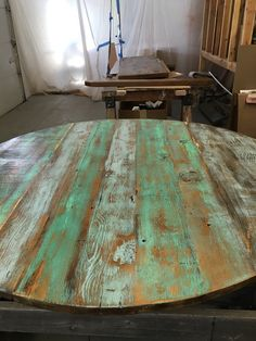 Reclaimed wood round dining tableROUND table by FreshRestorations
