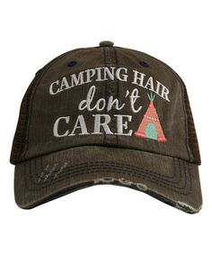 Another great find on #zulily! Brown & Coral 'Camping Hair Don't Care' Hat #zulilyfinds