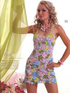 Crocheted flowers dress.    I love the color combination, spring is coming!