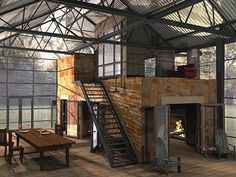 rustic barn remodel it into a modern studio workspace, lots of glass to bring in natural light, soaring ceilings with exposed beams and rafters, and lots of wide open spaces. Cool Space.