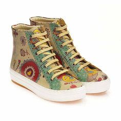 GOBY Women's Shoes ''Love Bird High Top Sneakers Boot'' CW2024 Leather High Tops, Artificial Leather, Painted Shoes, Sneaker Boots, Short Boots, Vegan Leather, Converse Chuck Taylor, High Top Sneakers, Women Accessories