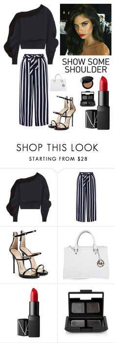 """""""Friday Night Out"""" by kotnourka ❤ liked on Polyvore featuring Burberry, Monsoon, Giuseppe Zanotti, Michael Kors, NARS Cosmetics and Bobbi Brown Cosmetics"""
