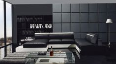 YIL T66 Ultra Modern Black With White Leather Sectional Sofa