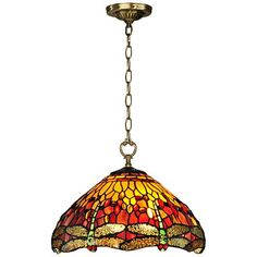 """Reves Dragonfly 16"""" Wide Dale Tiffany Pendant Light"""