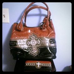 """REDUCED""""Cross"""" style handbag Very nice material bag. Comes with matching wallet. Minor damage on handles as shown in second picture. Bags Shoulder Bags"""