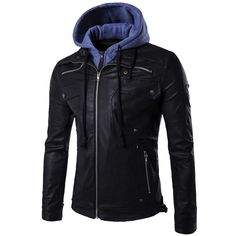 Partiss Men's Winter Detachable Hood Motorcycle PU Leather Jacket at... (£27) ❤ liked on Polyvore featuring men's fashion, men's clothing, men's outerwear, men's jackets, mens jackets, mens motorcycle jacket and mens pleather jacket