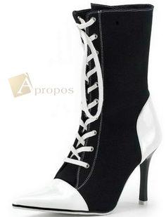 Stiefeletten 9cm Pumps Stilettos Ankle Boots Italy Lack Canvas Schwarz Weiß