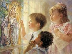 """In His Hands by Kathryn Fincher - Tell Me More In His Hands by Kathryn Fincher ~        Fourth in a series of paintings based on children in their church home, """"In His Hands"""" is inspired by the traditional children's song """"He's Got the Whole World in His Hands."""" These three young churchgoers are captivated by the radiant light pouring through the stained glass of Jesus knocking at the door; the light touching and... click on the image to read more and to see more work by this artist."""