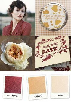 cranberry + apricot + cream  red and peach fall wedding color palette