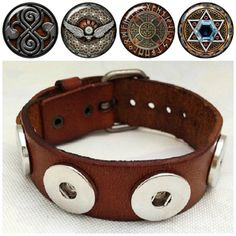 Adjustable Noosa style leather bracelet with 4 interchangeable Celtic snaps. Free shipping!