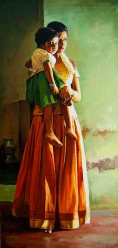 Oil painting depicting a woman & child from  India