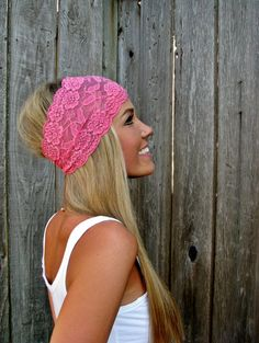 Wide Stretch Lace Headband In Bubblegum Pink on Luulla-- would like this in a different color