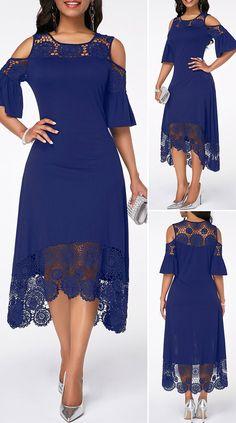 Blue Chiffon Dresses, Navy Blue Dresses, Navy Dress, Holiday Fashion, Fashion Fashion, Fashion Dresses, Fashion Looks, Cute Dress Outfits, Casual Dresses