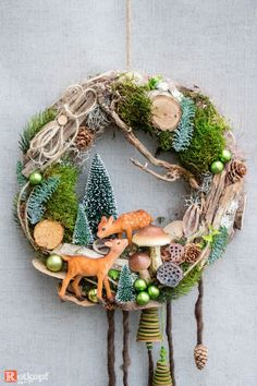Advent wreath - door wreath Christmas - a unique product by Rotkopf-design on DaWanda. Advent Wreath, Wreath Crafts, Diy Wreath, Decor Crafts, Diy And Crafts, Woodland Christmas, Christmas Wreaths, Christmas Crafts, Christmas Decorations