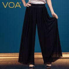 Find More Pants & Capris Information about VOA black silk georgette plus size wide leg pants fashion loose female wide leg trousers K163,High Quality trousers black,China trousers men Suppliers, Cheap trouser braces from VOA Flagship Shop on Aliexpress.com