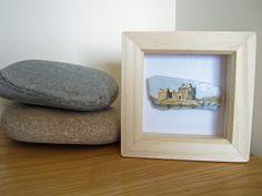 Miniature Castle Painting on Scottish Sea Pottery Framed