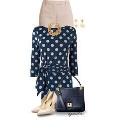Polka Dot Top by kgauthier on Polyvore featuring moda, Emilio Pucci, Rupert Sanderson, Orla Kiely, River Island, Chanel, goldjewelry, tanpants, tanpumps and navyhandbag
