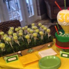 Golf and tennis theme birthday party, tennis ball cake pops and a golf theme cake