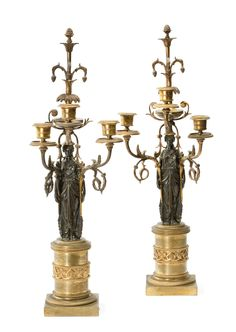 *A pair of Louis XVI ormolu and patinated bronze three-branch candelabra -   possibly Austrian, last quarter 18th century.