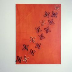 My new 30x40 wall art made with toilet paper rolls and a canvas!
