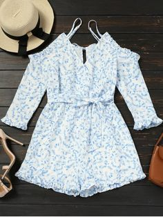 248465cd8e9 Floral Yes Ruffles and Tassel Floral Regular Casual Cold Shoulder Floral  Belted Cami Romper