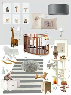 Baby's room grey white wood